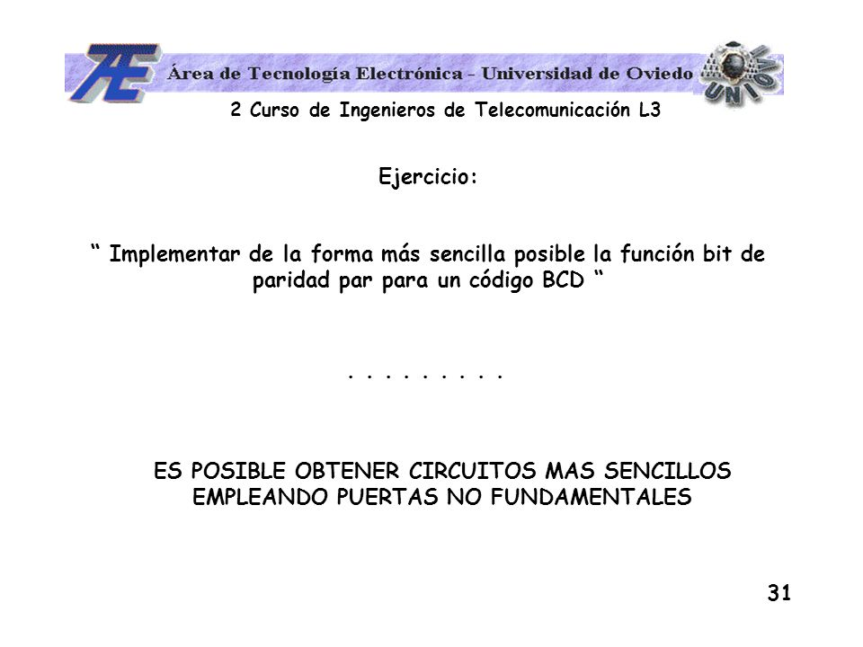 Ejercicio: Implementar de la forma más sencilla posible la función bit de paridad par para un código BCD