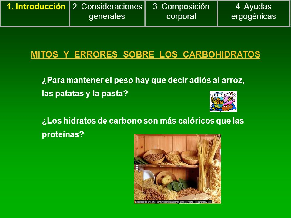 MITOS Y ERRORES SOBRE LOS CARBOHIDRATOS