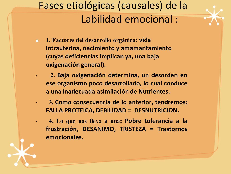 Fases etiológicas (causales) de la Labilidad emocional :