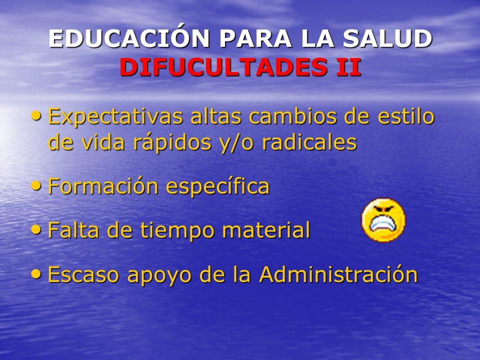 EDUCACIÓN PARA LA SALUD DIFUCULTADES II