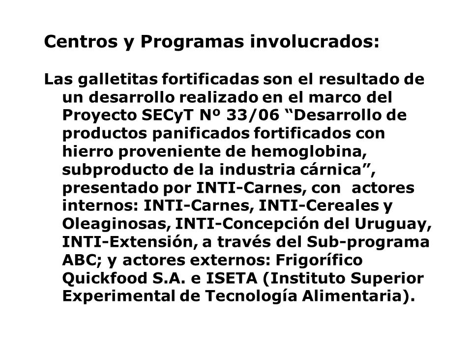 Centros y Programas involucrados: