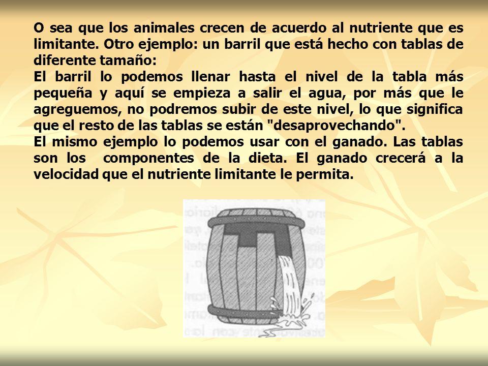 O sea que los animales crecen de acuerdo al nutriente que es limitante