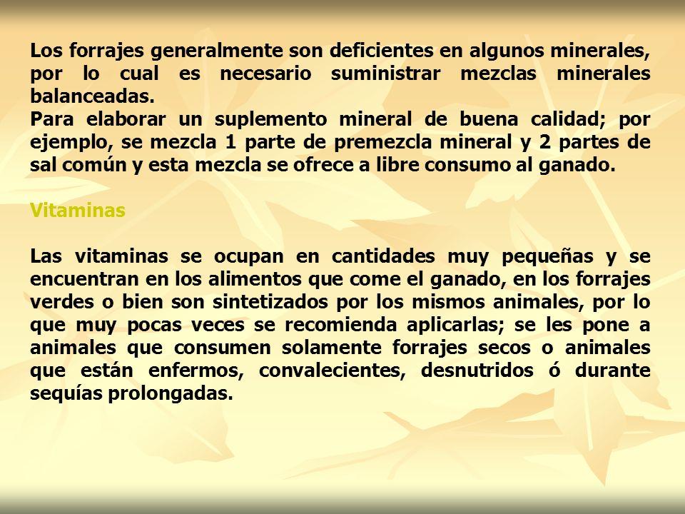 Los forrajes generalmente son deficientes en algunos minerales, por lo cual es necesario suministrar mezclas minerales balanceadas.