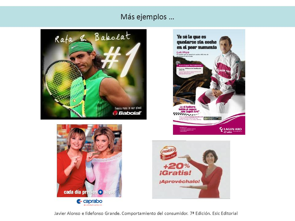 Más ejemplos … Javier Alonso e Ildefonso Grande. Comportamiento del consumidor.