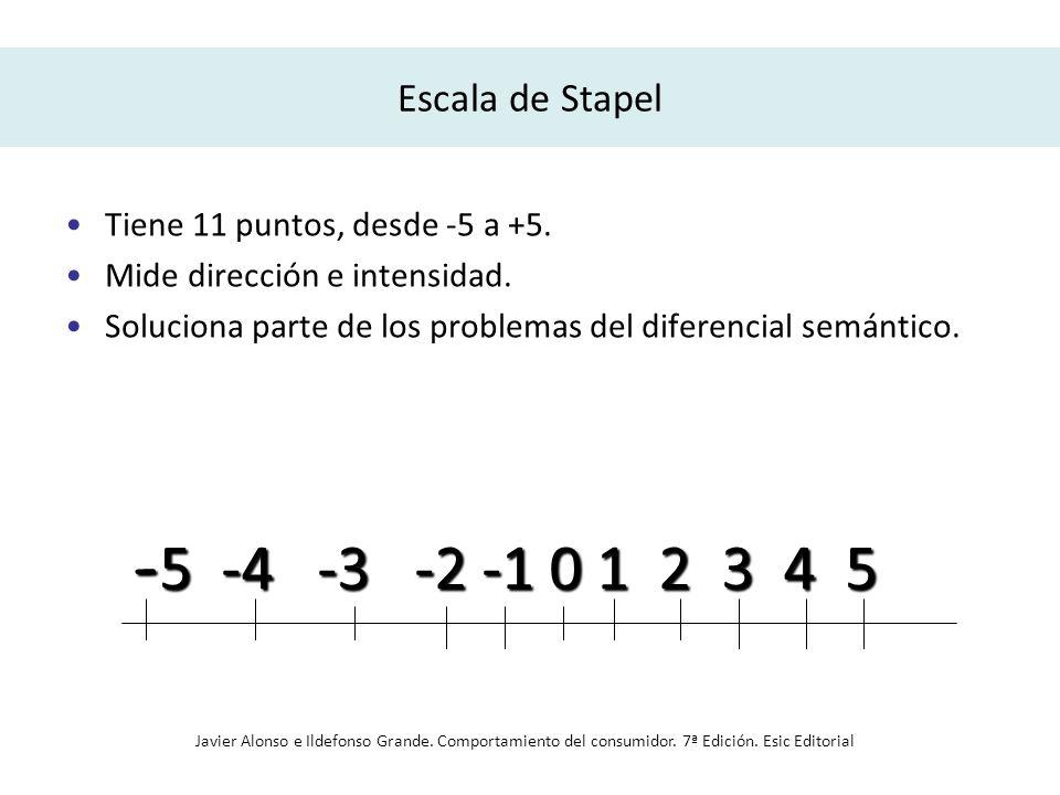 Escala de Stapel Tiene 11 puntos, desde -5 a +5. Mide dirección e intensidad. Soluciona parte de los problemas del diferencial semántico.