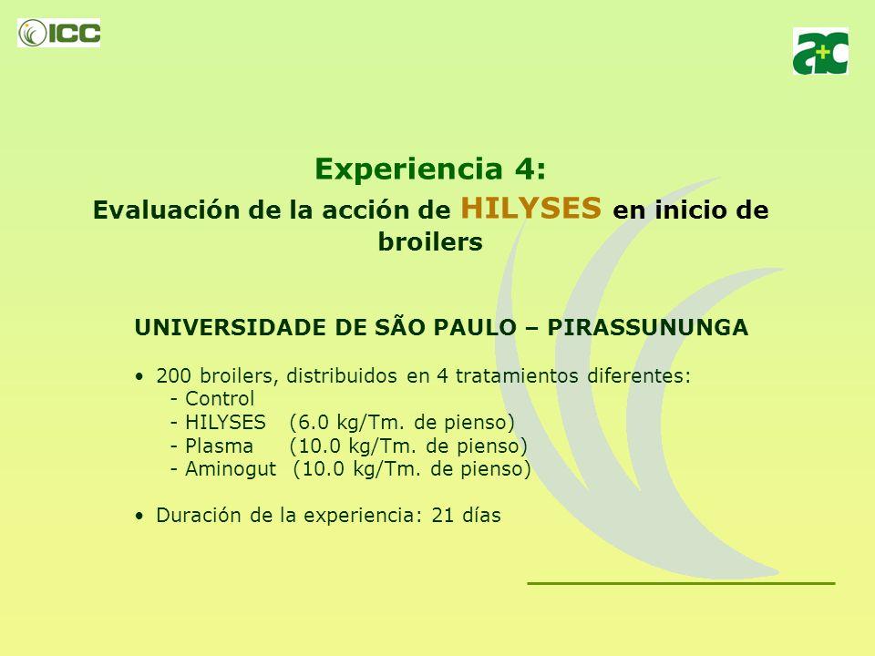 Experiencia 4: Evaluación de la acción de HILYSES en inicio de broilers