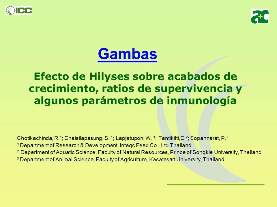 Gambas Efecto de Hilyses sobre acabados de crecimiento, ratios de supervivencia y algunos parámetros de inmunología.