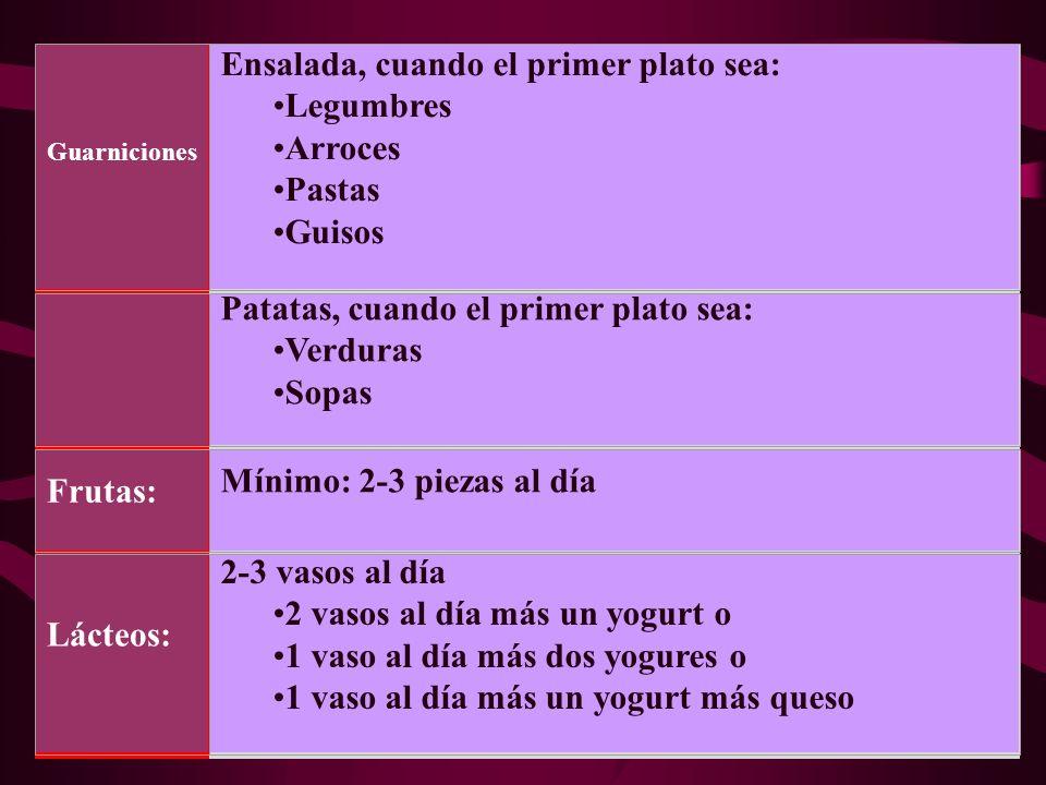 Ensalada, cuando el primer plato sea: Legumbres Arroces Pastas Guisos