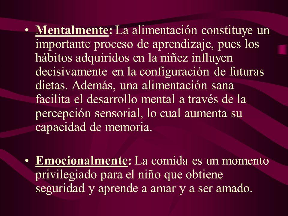 Mentalmente: La alimentación constituye un importante proceso de aprendizaje, pues los hábitos adquiridos en la niñez influyen decisivamente en la configuración de futuras dietas. Además, una alimentación sana facilita el desarrollo mental a través de la percepción sensorial, lo cual aumenta su capacidad de memoria.