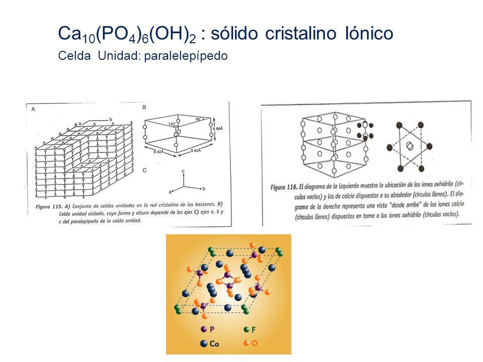 Ca10(PO4)6(OH)2 : sólido cristalino Iónico