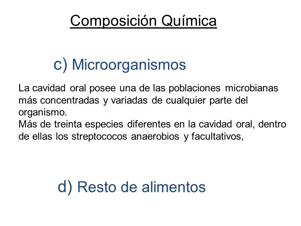 c) Microorganismos d) Resto de alimentos Composición Química