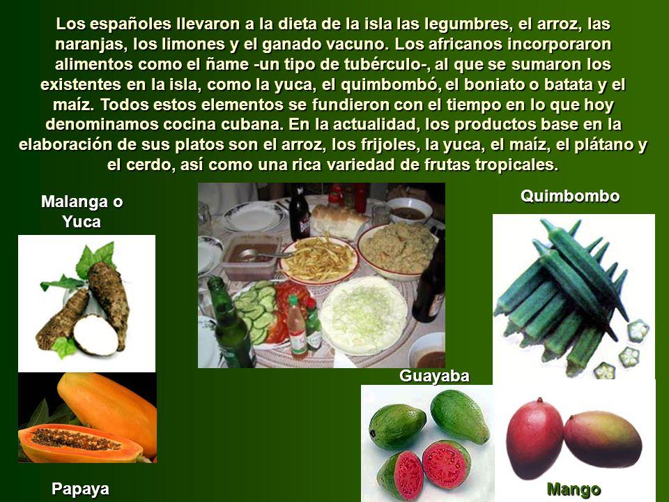 Los españoles llevaron a la dieta de la isla las legumbres, el arroz, las naranjas, los limones y el ganado vacuno. Los africanos incorporaron alimentos como el ñame -un tipo de tubérculo-, al que se sumaron los existentes en la isla, como la yuca, el quimbombó, el boniato o batata y el maíz. Todos estos elementos se fundieron con el tiempo en lo que hoy denominamos cocina cubana. En la actualidad, los productos base en la elaboración de sus platos son el arroz, los frijoles, la yuca, el maíz, el plátano y el cerdo, así como una rica variedad de frutas tropicales.