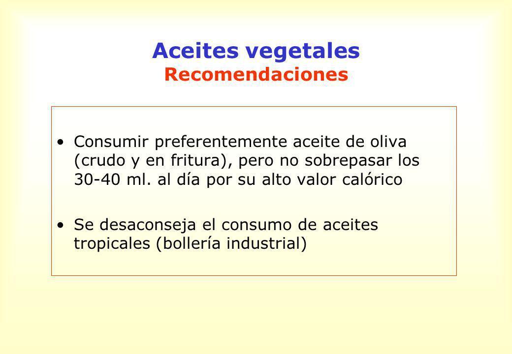Aceites vegetales Recomendaciones