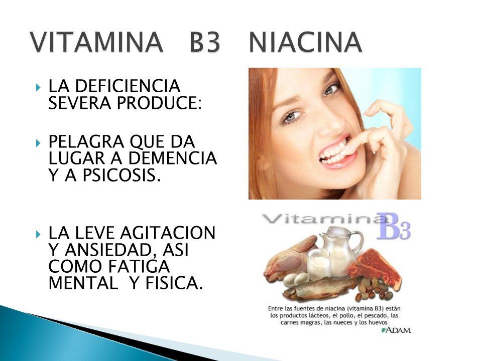 VITAMINA B3 NIACINA LA DEFICIENCIA SEVERA PRODUCE: