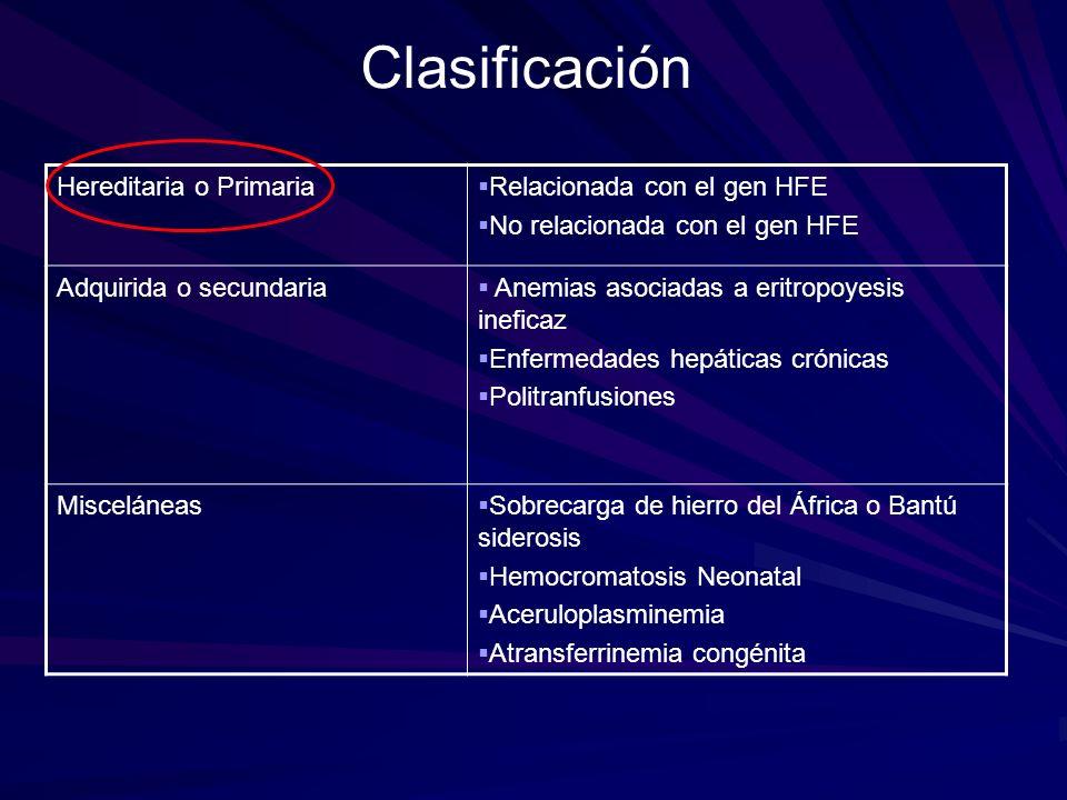 Clasificación Hereditaria o Primaria Relacionada con el gen HFE
