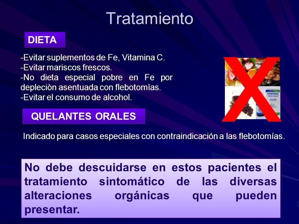 Tratamiento x. DIETA. -Evitar suplementos de Fe, Vitamina C. -Evitar mariscos frescos.