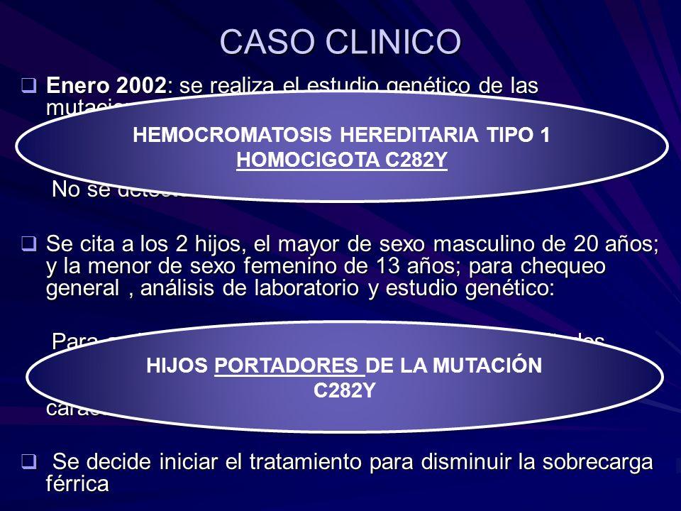 CASO CLINICO Enero 2002: se realiza el estudio genético de las mutaciones para HH en el paciente. Resultados: