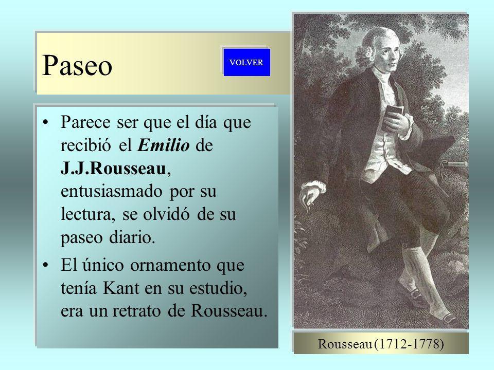 Paseo VOLVER. Parece ser que el día que recibió el Emilio de J.J.Rousseau, entusiasmado por su lectura, se olvidó de su paseo diario.