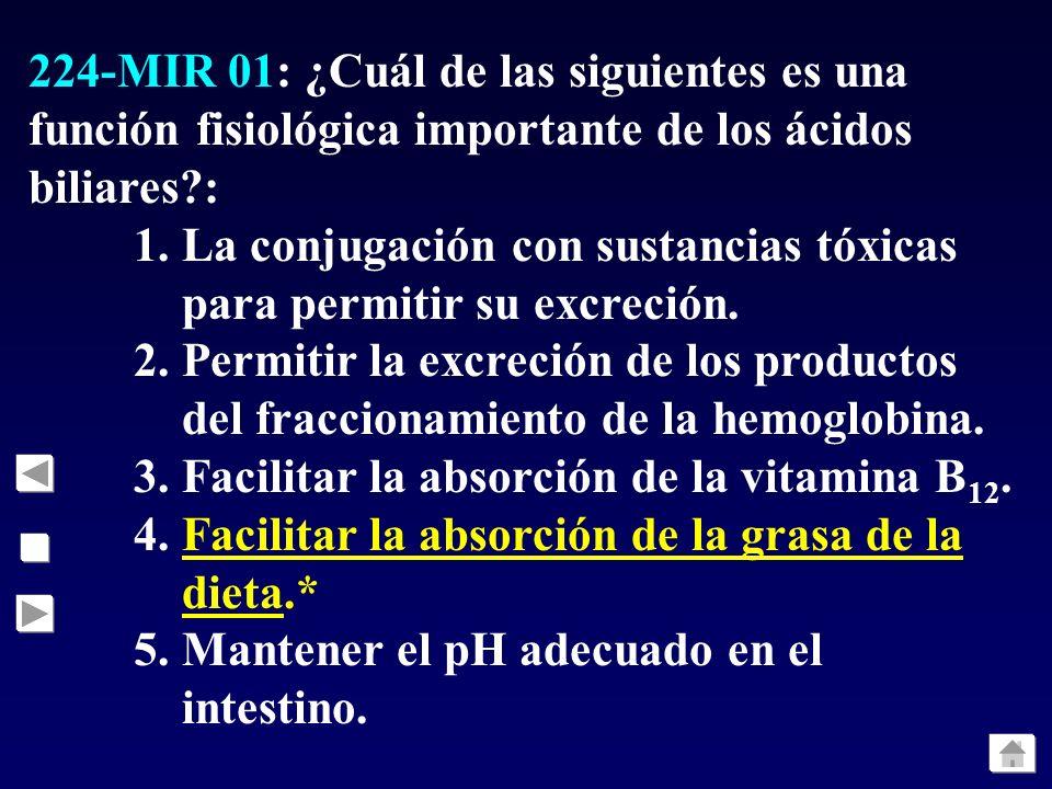 224-MIR 01: ¿Cuál de las siguientes es una función fisiológica importante de los ácidos biliares :