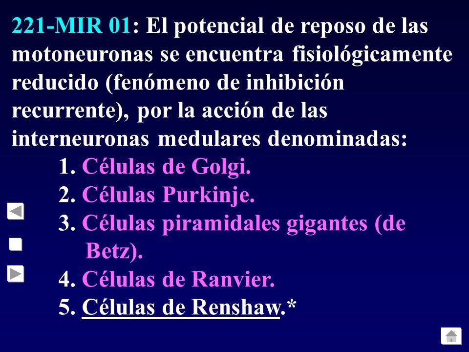 221-MIR 01: El potencial de reposo de las motoneuronas se encuentra fisiológicamente reducido (fenómeno de inhibición recurrente), por la acción de las interneuronas medulares denominadas: