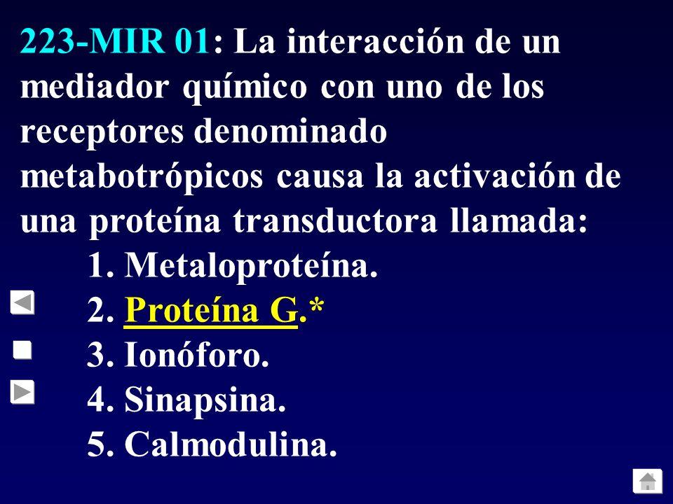 223-MIR 01: La interacción de un mediador químico con uno de los receptores denominado metabotrópicos causa la activación de una proteína transductora llamada: