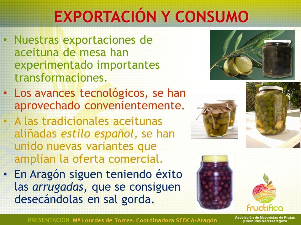 EXPORTACIÓN Y CONSUMO Nuestras exportaciones de aceituna de mesa han experimentado importantes transformaciones.
