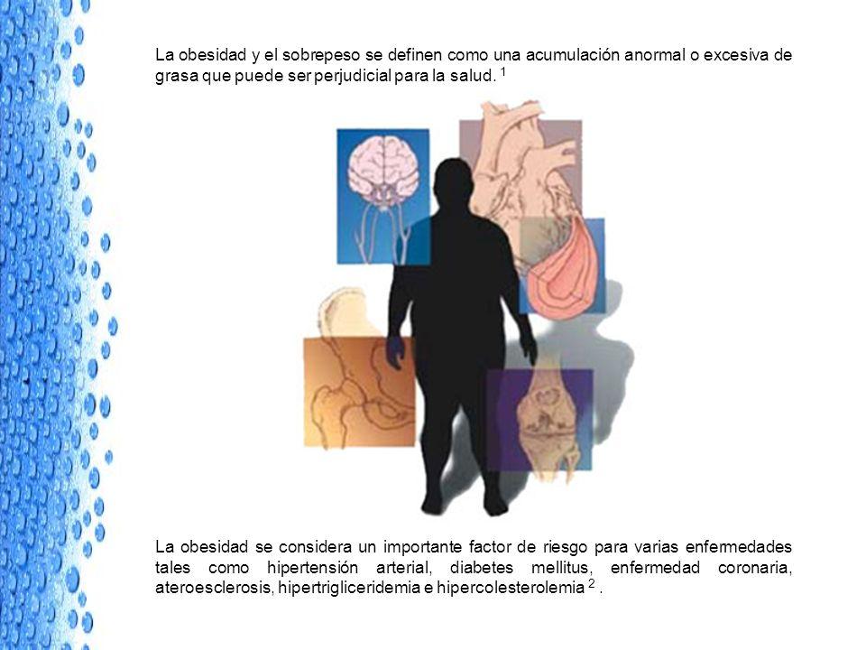 La obesidad y el sobrepeso se definen como una acumulación anormal o excesiva de grasa que puede ser perjudicial para la salud. 1