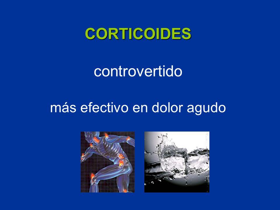 CORTICOIDES controvertido más efectivo en dolor agudo