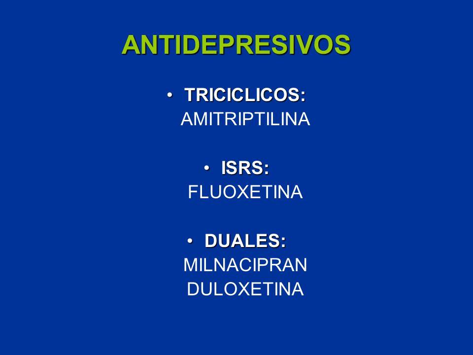 ANTIDEPRESIVOS TRICICLICOS: AMITRIPTILINA ISRS: FLUOXETINA DUALES: