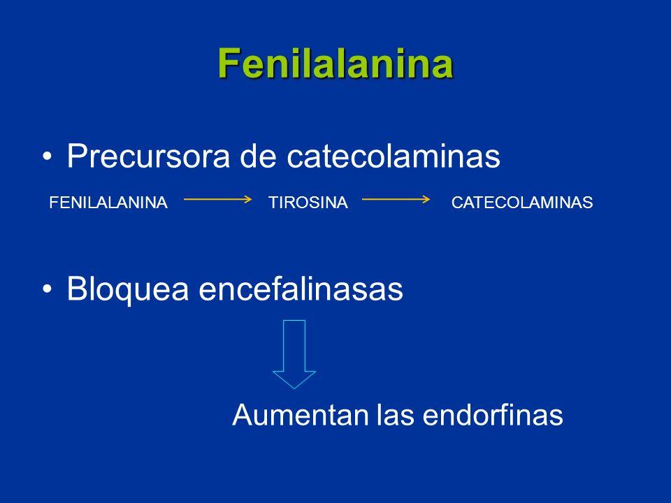 Fenilalanina Precursora de catecolaminas Bloquea encefalinasas