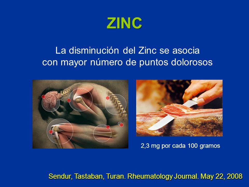 ZINC La disminución del Zinc se asocia