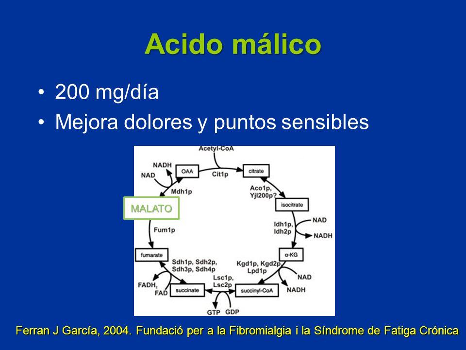 Acido málico 200 mg/día Mejora dolores y puntos sensibles