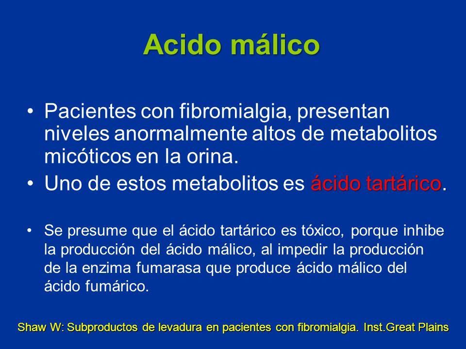 Acido málico Pacientes con fibromialgia, presentan niveles anormalmente altos de metabolitos micóticos en la orina.