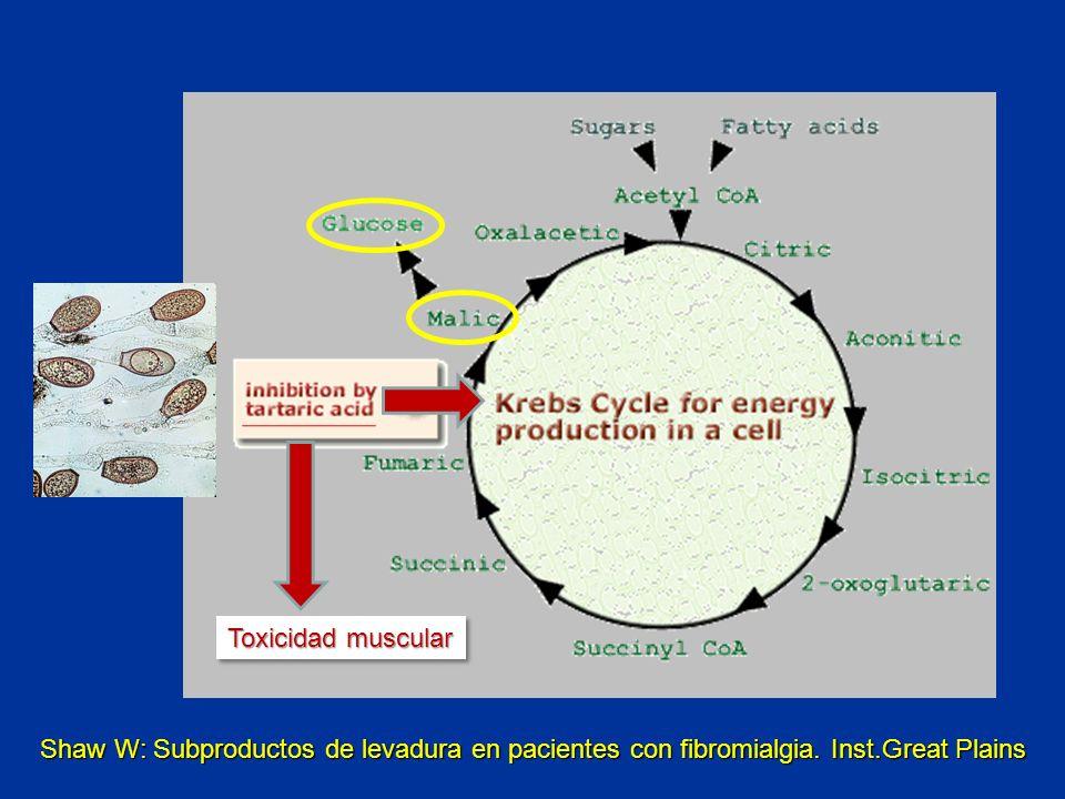 Toxicidad muscular Shaw W: Subproductos de levadura en pacientes con fibromialgia.