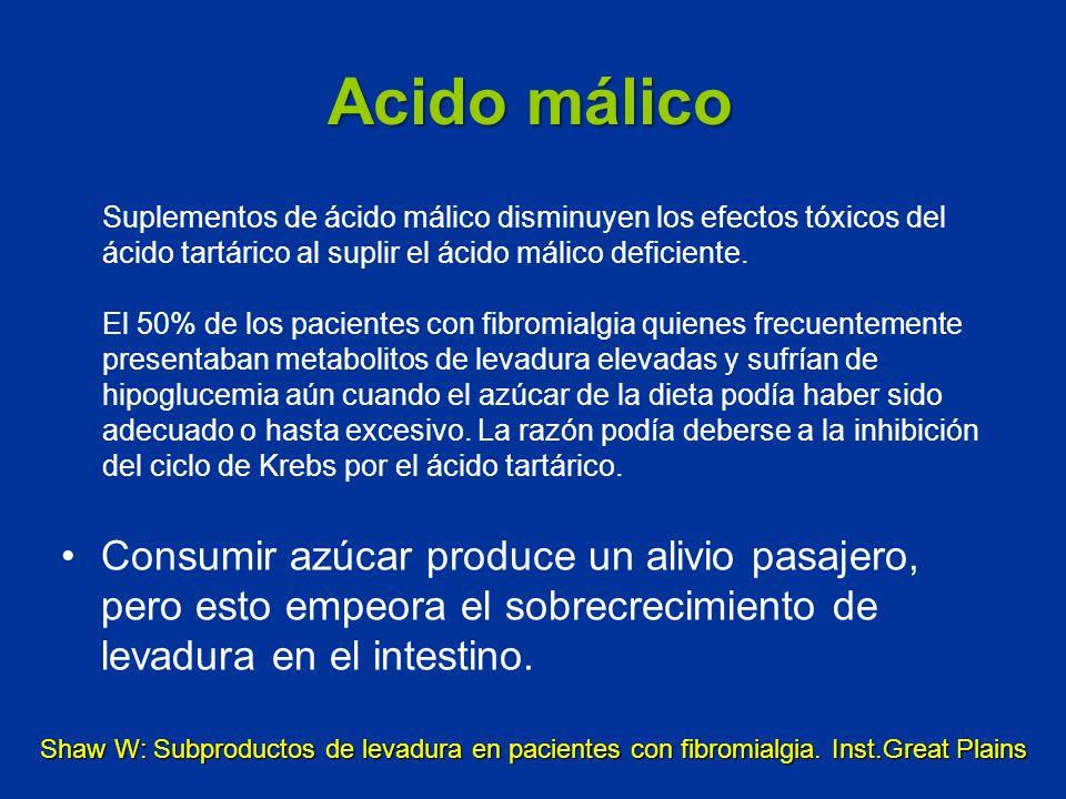 Acido málico Suplementos de ácido málico disminuyen los efectos tóxicos del ácido tartárico al suplir el ácido málico deficiente.