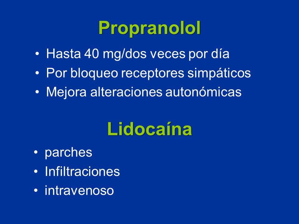 Propranolol Lidocaína