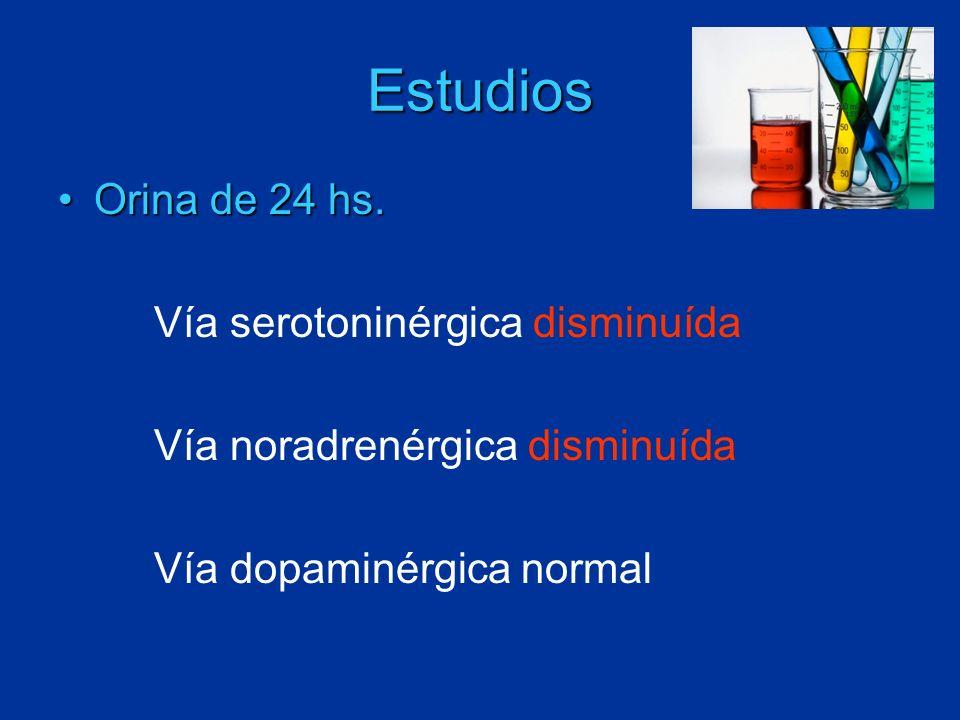 Estudios Orina de 24 hs. Vía serotoninérgica disminuída