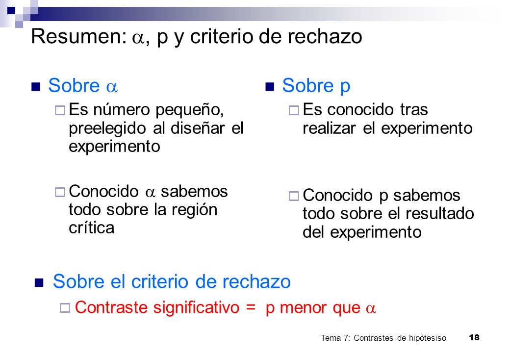 Resumen: a, p y criterio de rechazo