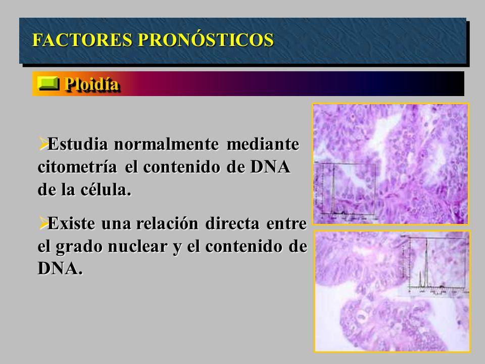 FACTORES PRONÓSTICOS Ploidía. Estudia normalmente mediante citometría el contenido de DNA de la célula.