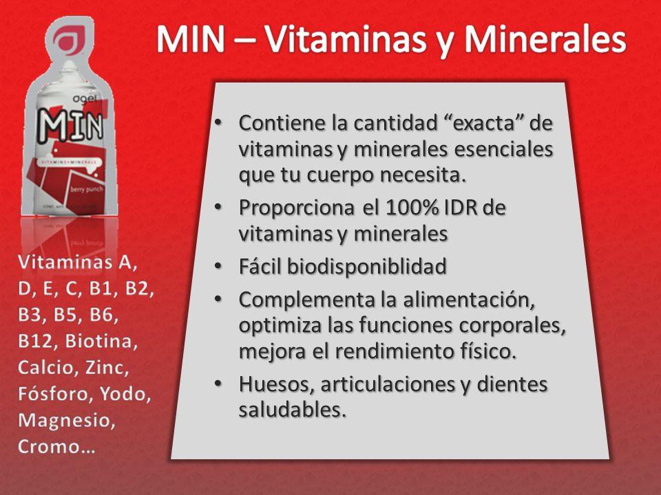 Contiene la cantidad exacta de vitaminas y minerales esenciales que tu cuerpo necesita.
