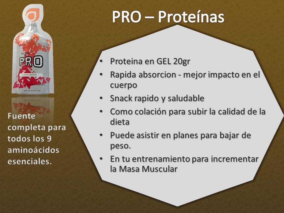 Proteina en GEL 20gr Rapida absorcion - mejor impacto en el cuerpo. Snack rapido y saludable. Como colación para subir la calidad de la dieta.