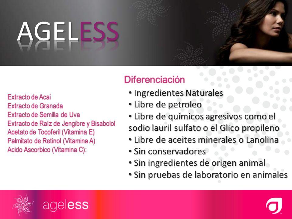 AGELESS Diferenciación Ingredientes Naturales Libre de petroleo