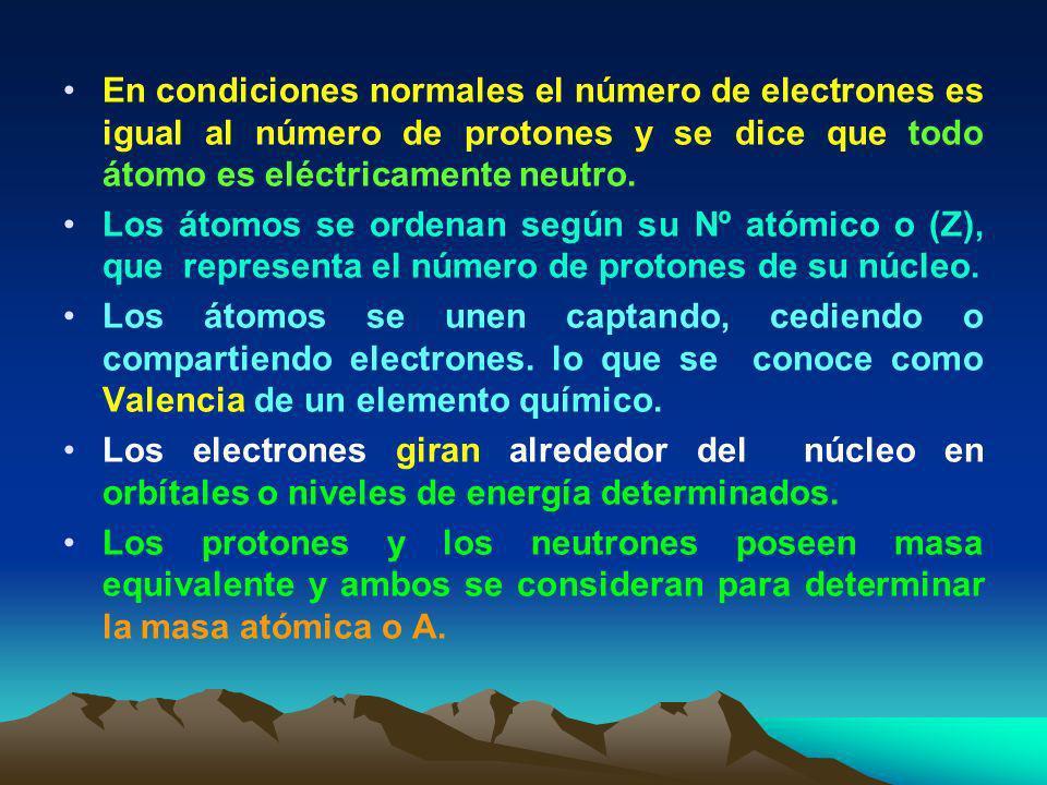En condiciones normales el número de electrones es igual al número de protones y se dice que todo átomo es eléctricamente neutro.