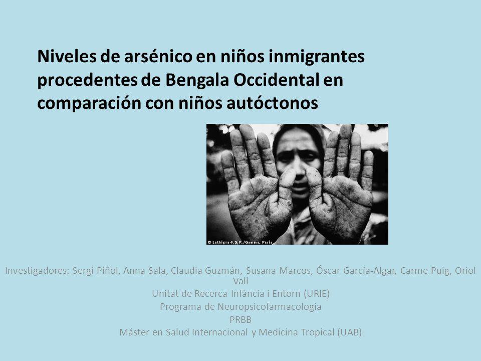 Niveles de arsénico en niños inmigrantes procedentes de Bengala Occidental en comparación con niños autóctonos