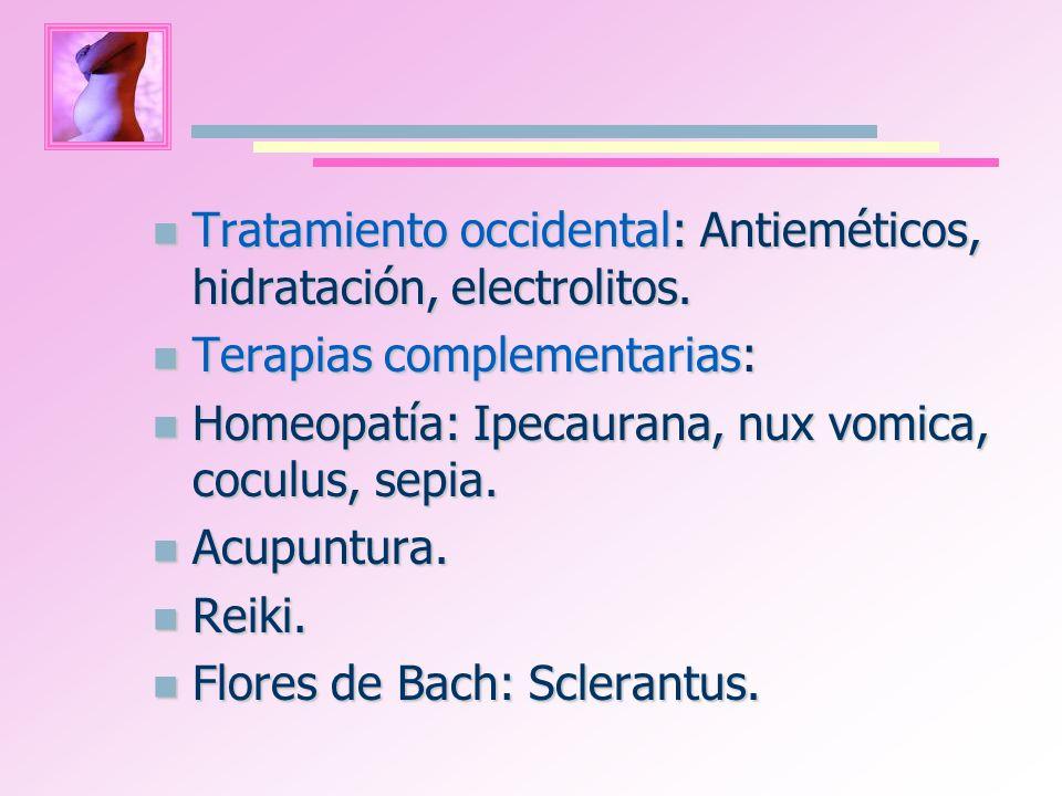 Tratamiento occidental: Antieméticos, hidratación, electrolitos.
