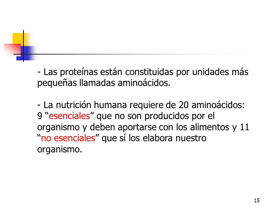 ProteínasLas proteínas están constituidas por unidades más pequeñas llamadas aminoácidos.