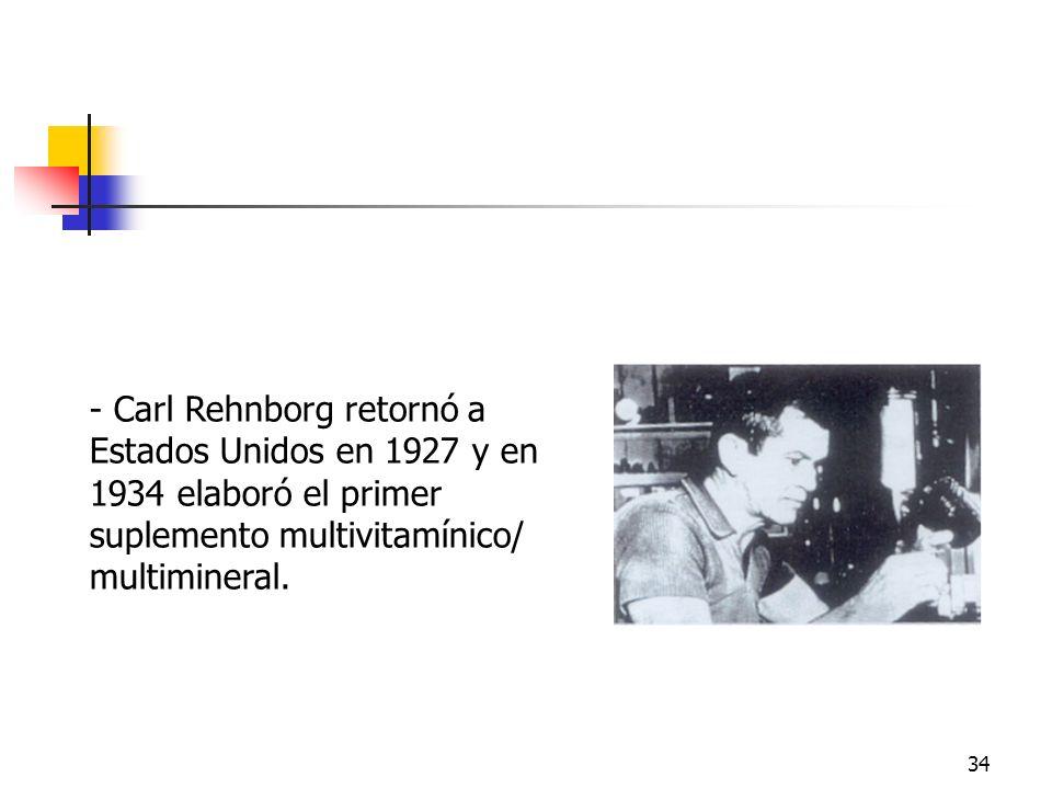 Carl RehnborgCarl Rehnborg retornó a Estados Unidos en 1927 y en 1934 elaboró el primer suplemento multivitamínico/ multimineral.