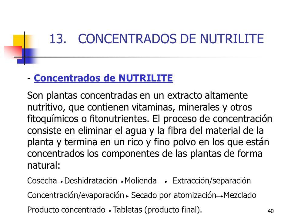 13. CONCENTRADOS DE NUTRILITE