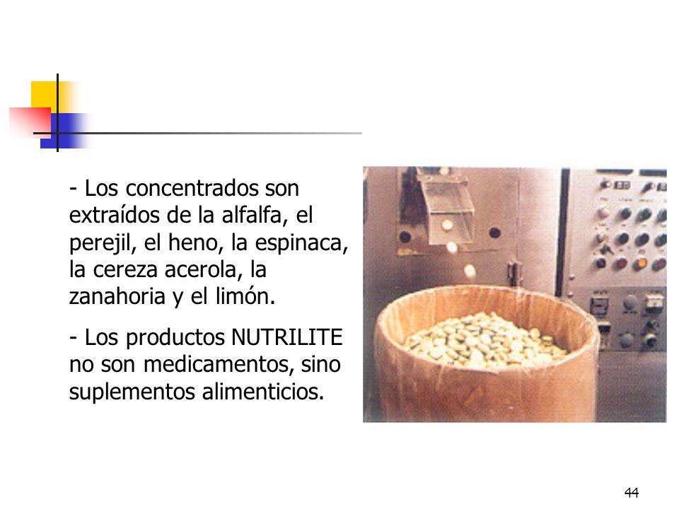 ConcentradosLos concentrados son extraídos de la alfalfa, el perejil, el heno, la espinaca, la cereza acerola, la zanahoria y el limón.