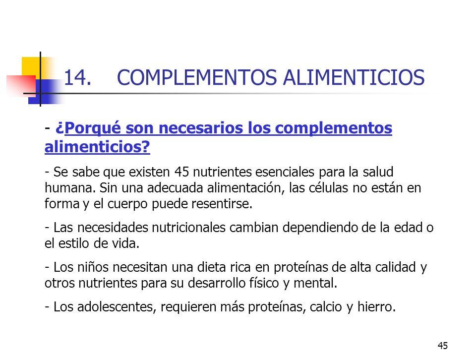 14. COMPLEMENTOS ALIMENTICIOS